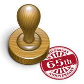 65th anniversary grunge rubber stamp  — Vecteur