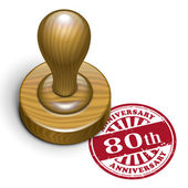 80th anniversary grunge rubber stamp  — Vecteur