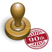 90th anniversary grunge rubber stamp  — Vecteur