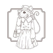 Fashion illustration of mouse, black and white line — 图库矢量图片