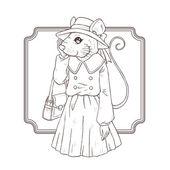 Fashion illustration of mouse, black and white line — Stockvektor