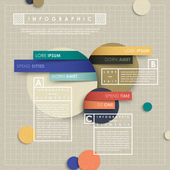 Infographic vectorelementen met papier collage stijl — Stockvector