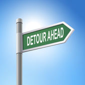 3d road sign saying detour ahead — Stock Vector