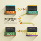 Retro flow chart infographic elements — Wektor stockowy