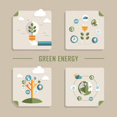 Flat design vector icons for green energy — Stock Vector