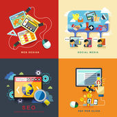 Flat web design, seo, social media, pay per click — Stock Vector