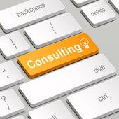 Concepto de consultoría con teclado de la computadora — Vector de stock