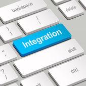 Integratie concept met toetsenbord van de computer — Stockvector