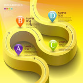 Vector abstract 3d yellow road infographic elements — Stock Vector