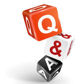 3d dice illustration with word Q and A — Vector de stock
