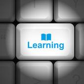 Concept d'apprentissage avec clavier d'ordinateur — Vecteur
