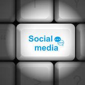 Social media concept with computer keyboard — Stock Vector