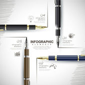 Creative template with fountain pen writing informations — Stock vektor