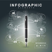 Creative flow chart with fountain pen writing informations — Vector de stock