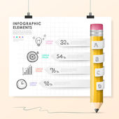 Vector pencil bar chart infographic elements — Stock Vector