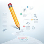 Business education pencil Infographics  — Stock Vector