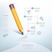 Negocios educación lápiz infografía — Vector de stock