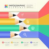 Business education pencil Infographics  — Vetor de Stock