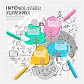 Hand tekenen collage vector infographic stijlelementen — Stockvector