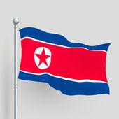 3d vector North Korea flag — Stock Vector