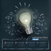 Infografiki kreatywnych szablon z żarówką — Wektor stockowy