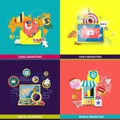 Platte ontwerpconcept voor web- en mobiele telefoon services — Stockvector