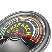 Vector research conceptual meter indicator — Vector de stock