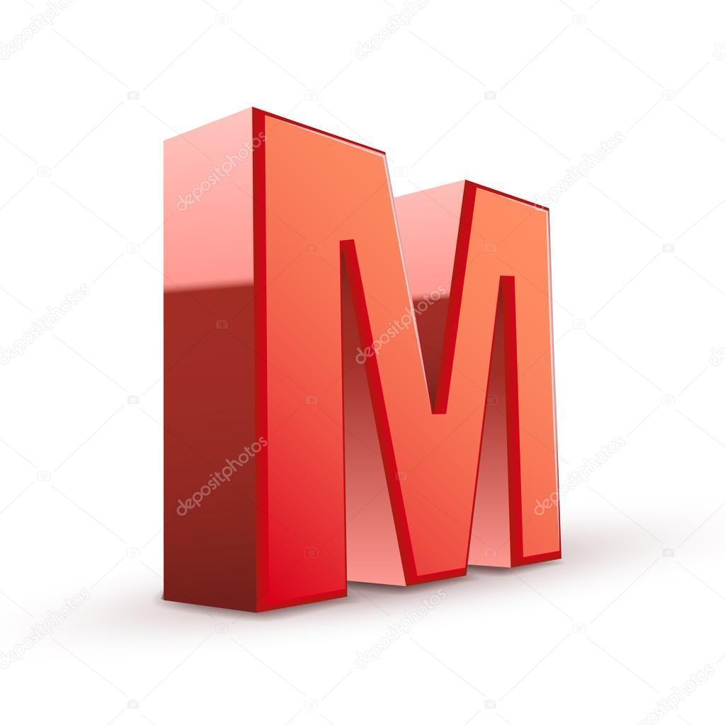 3d roten buchstaben m stockvektor kchungtw 48447493. Black Bedroom Furniture Sets. Home Design Ideas