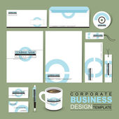 Business corporate identity template with white blue circle — Stock Vector