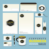Business corporate identity template with grunge and ink — Stock Vector