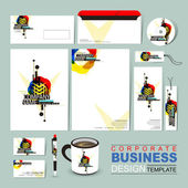 Abstract business corporate identity template composed of geomet — Stock Vector