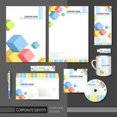 Corporate identity template with color cube elements. — Vecteur