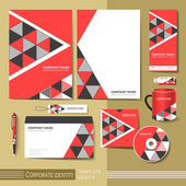 Corporate identity template with  red and black triangle element — Stock Vector
