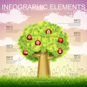 Vector infographic template with tree element — Stock Vector