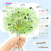Vector infographic with a tree grabbed by hand  — Stock Vector