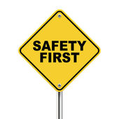 3d illustration of safety first road sign — Stock Vector