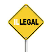 3d illustration of yellow roadsign of legal illegal — Stock Vector