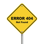 3d illustration of error 404 not found road sign — Stock Vector