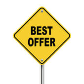 3d illustration of yellow roadsign of best offer — Stock Vector