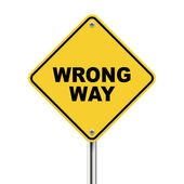 3d illustration of yellow roadsign of wrong way — Vecteur