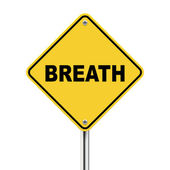 3d illustration of yellow roadsign of breath — 图库矢量图片