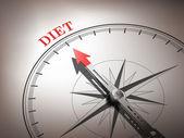 Astratto ago della bussola che punta la dieta di parola — Vettoriale Stock