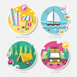 Summer travel icons set in flat design — Stock Vector #49799663