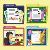 HR recruitment process icons set in flat design — Stockvector