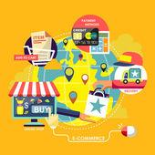 E-commerce process concepts in flat design — Stock Vector