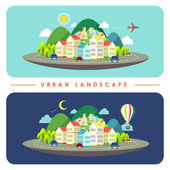 Urban landscape illustration in flat design — Stock Vector
