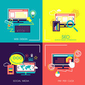 Flat design icons of web and mobile services  — Stock Vector
