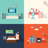 Creative furniture icons set in flat design — Stock Vector