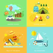 Summer travel icons set in flat design  — Stock Vector