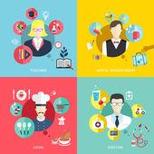Mensen beroepen concept pictogrammen instellen in platte ontwerp — Stockvector